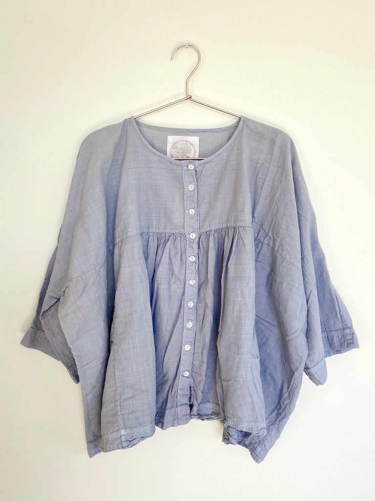 auntie oti gathered blouse in baby blue OS