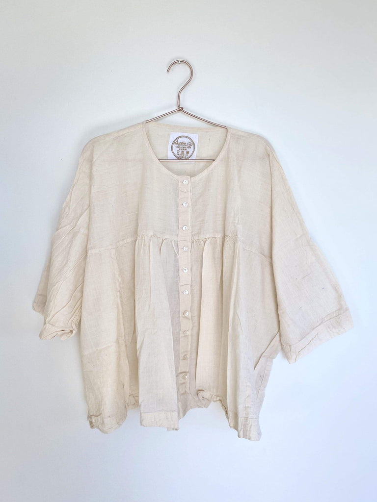 auntie oti gathered blouse in natural OS