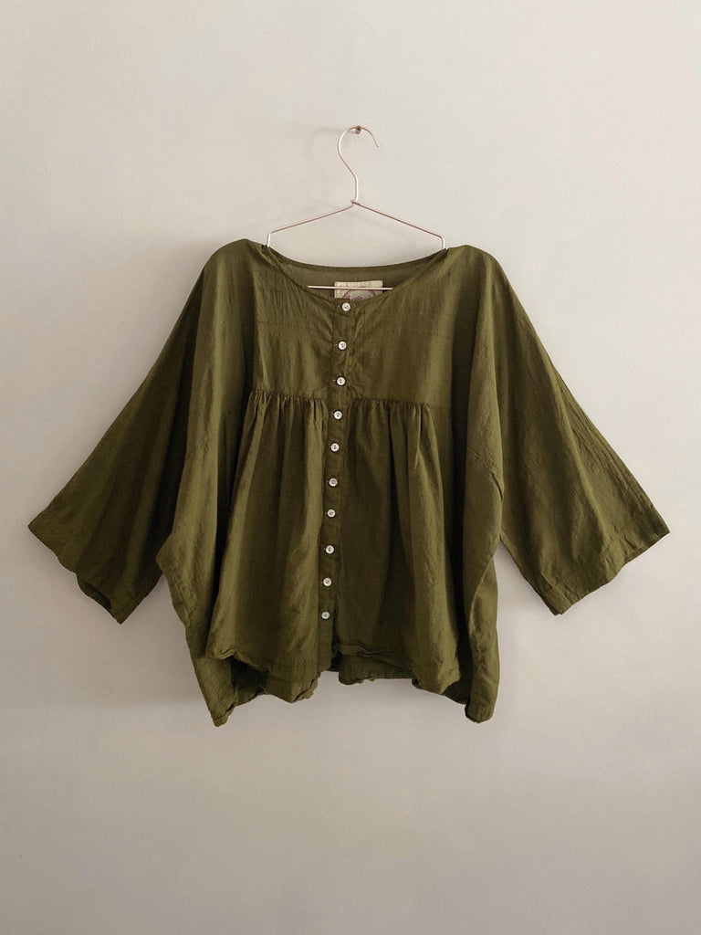 auntie oti gathered blouse in olive OS