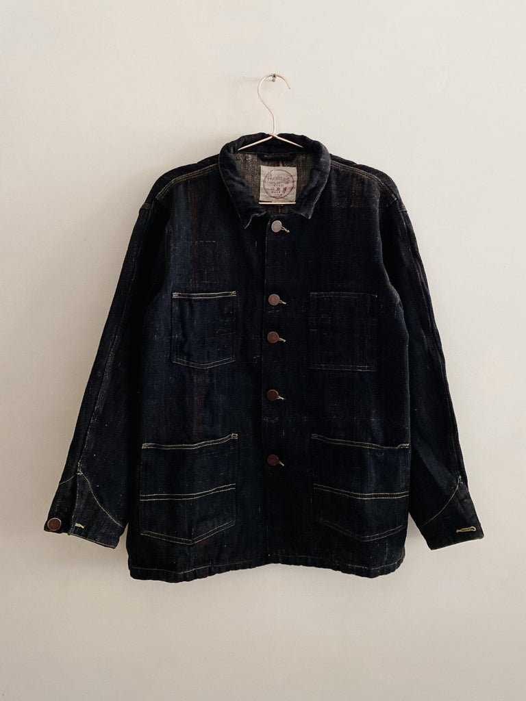 auntie oti selvedge denim chore coat in black
