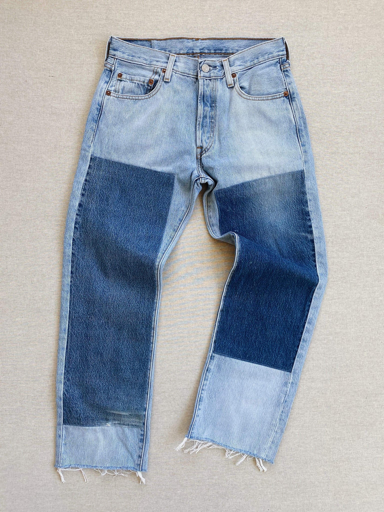 B SIDES vintage patchwork jean no. 2 slouch crop 24