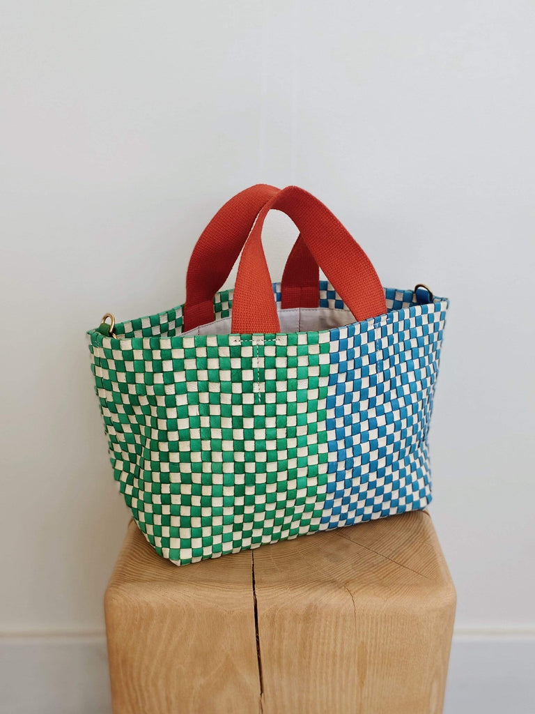 Clare V. petit bateau bag in woven green and sky Blue