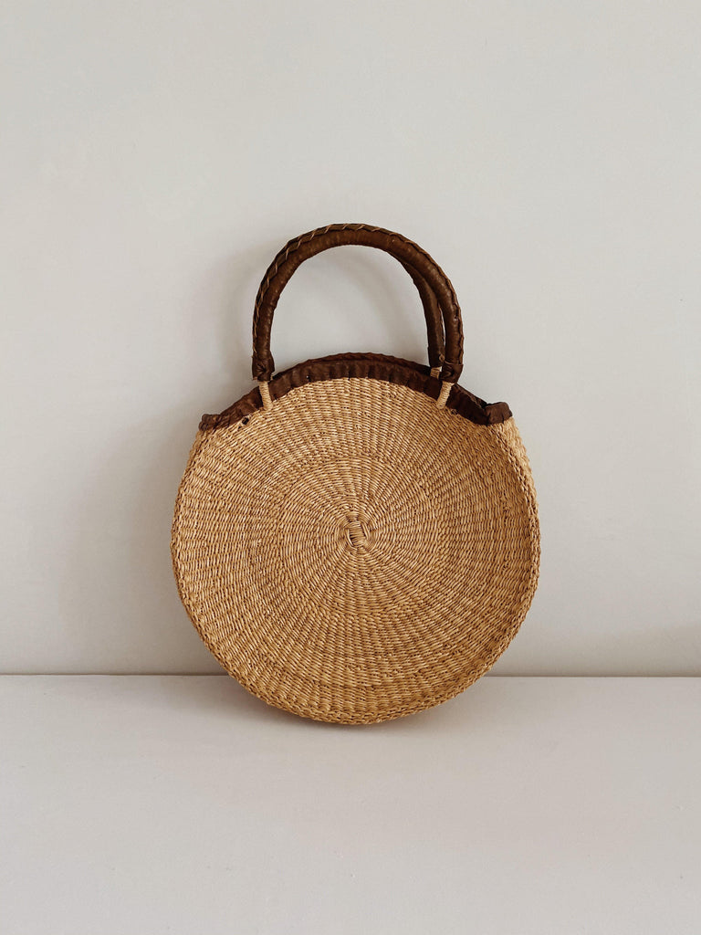 ghana round tote with leather trim OS