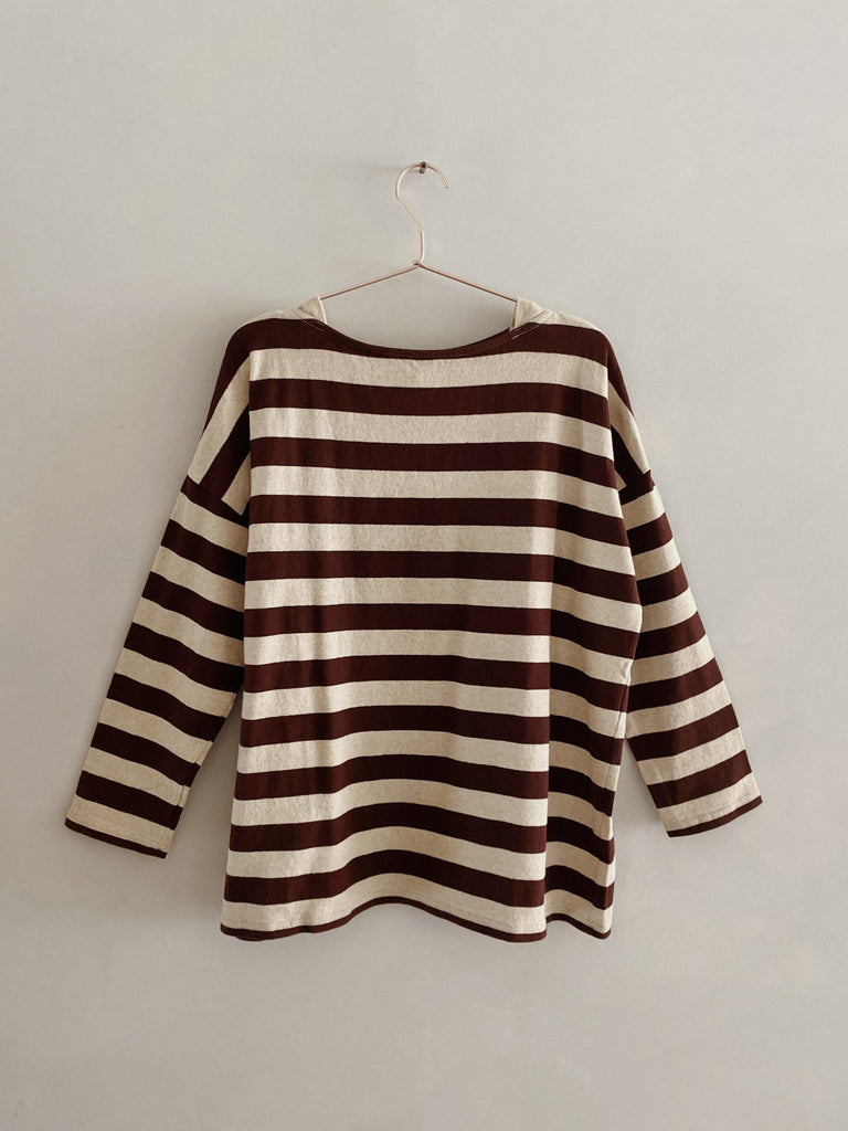 ichi antiquités cotton linen pullover in natural/brown stripe one size