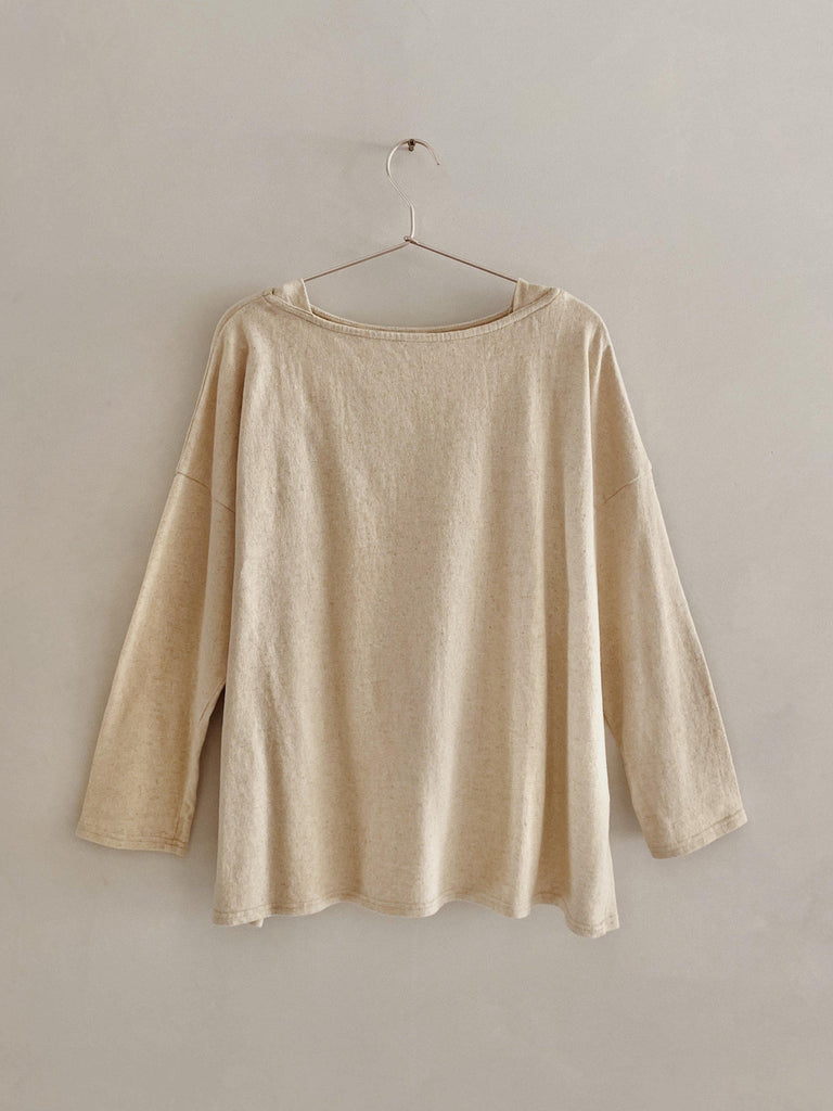 ichi antiquités cotton linen pullover in natural one size