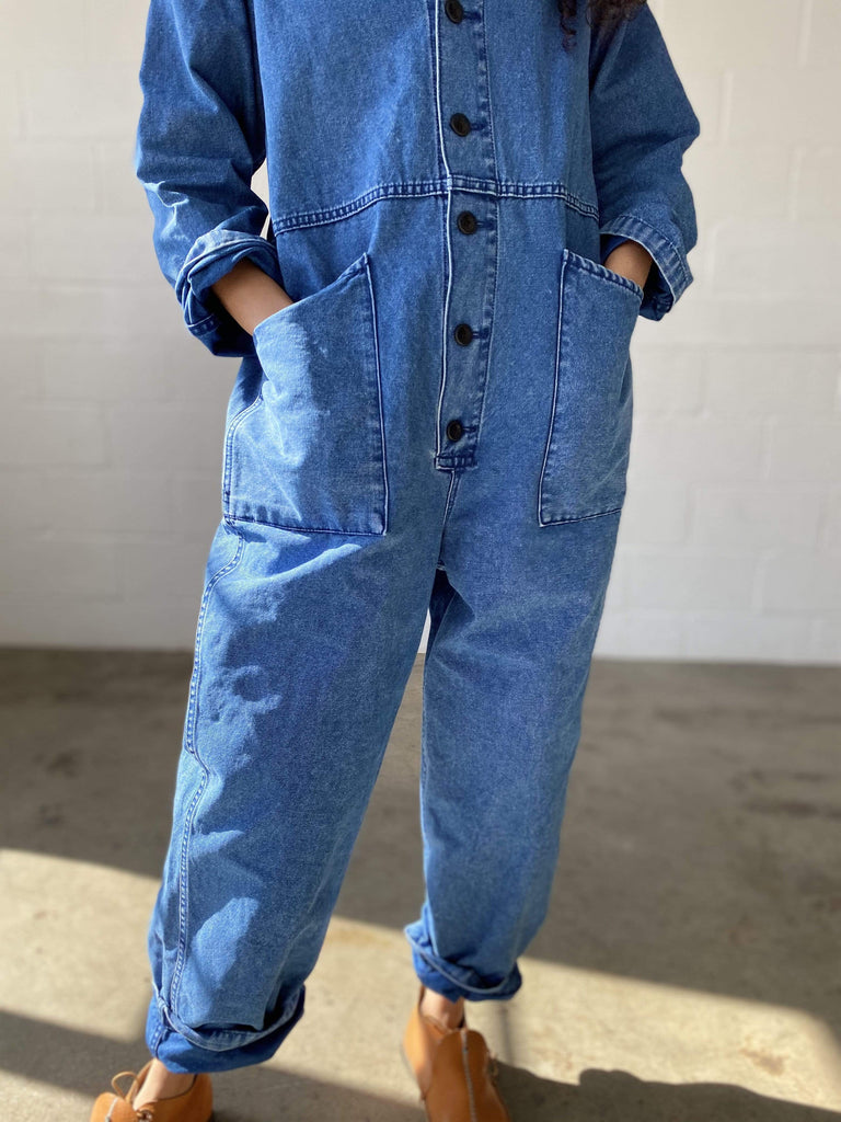 Ichi Antiquités Indigo Cotton Jumpsuit in Denim OS