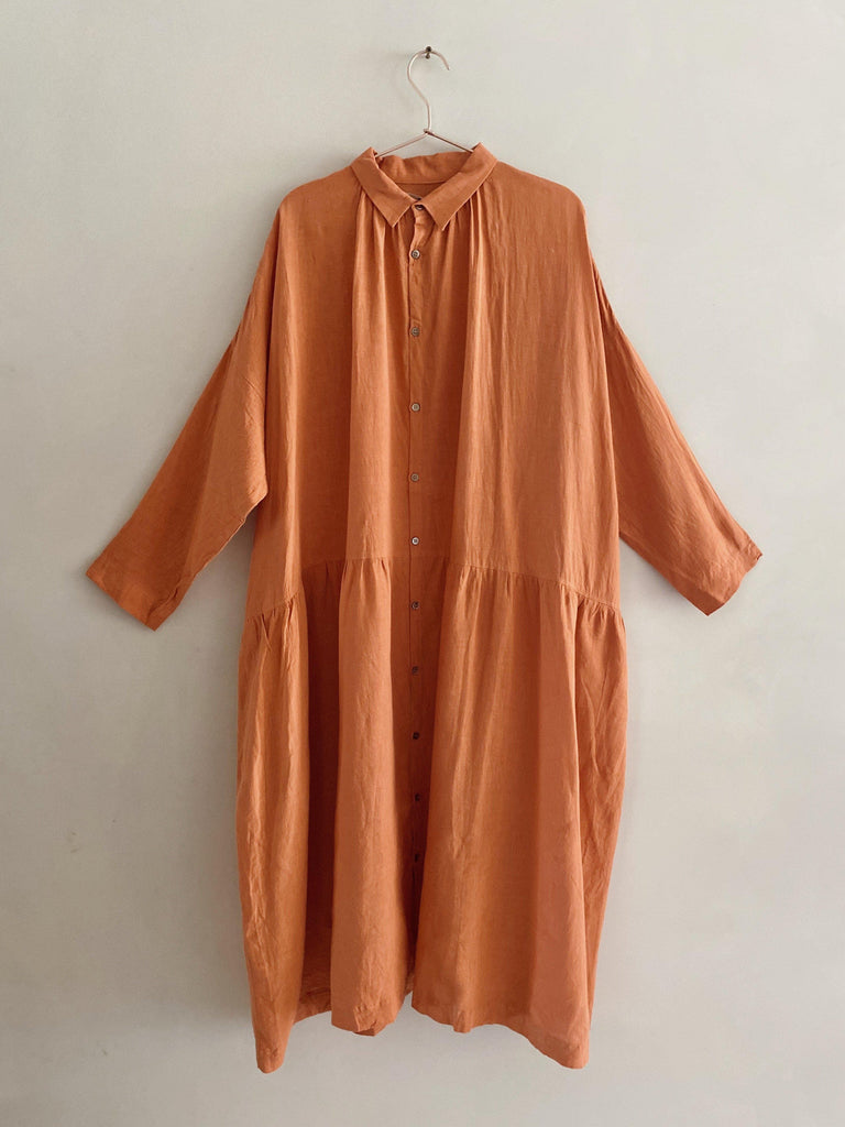 ichi antiquités linen dress in coral pink one size