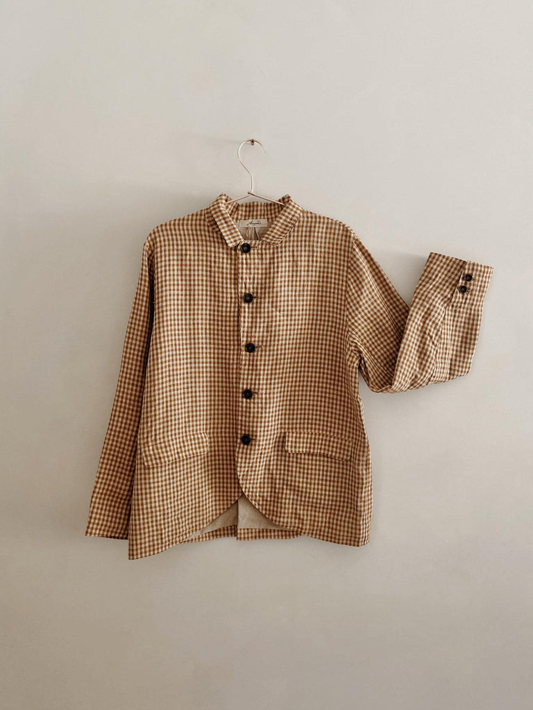ichi antiquités linen jacket in camel gingham one size