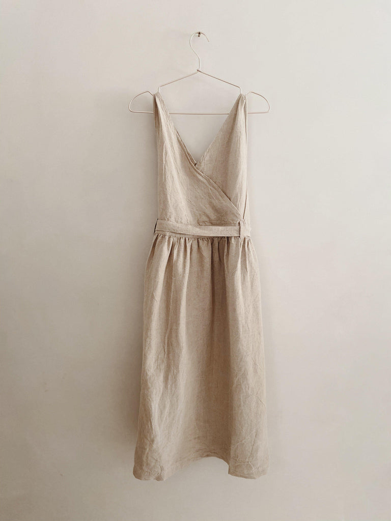 ichi antiquités linen jumper dress in natural OS