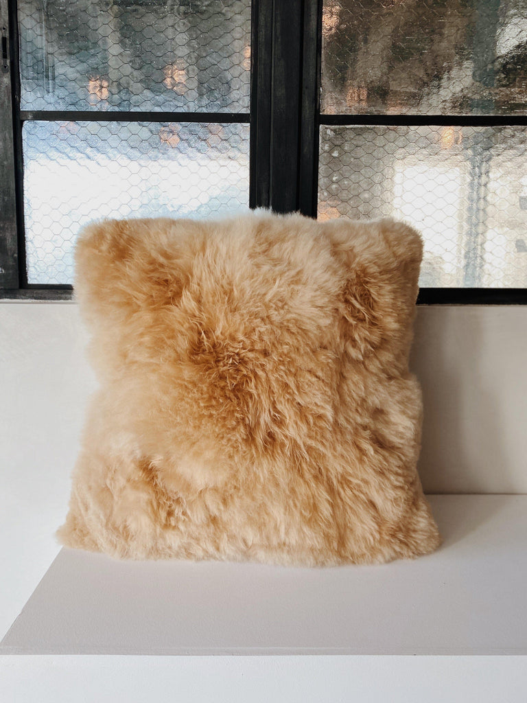 intiearth baby alpaca pillow in champagne