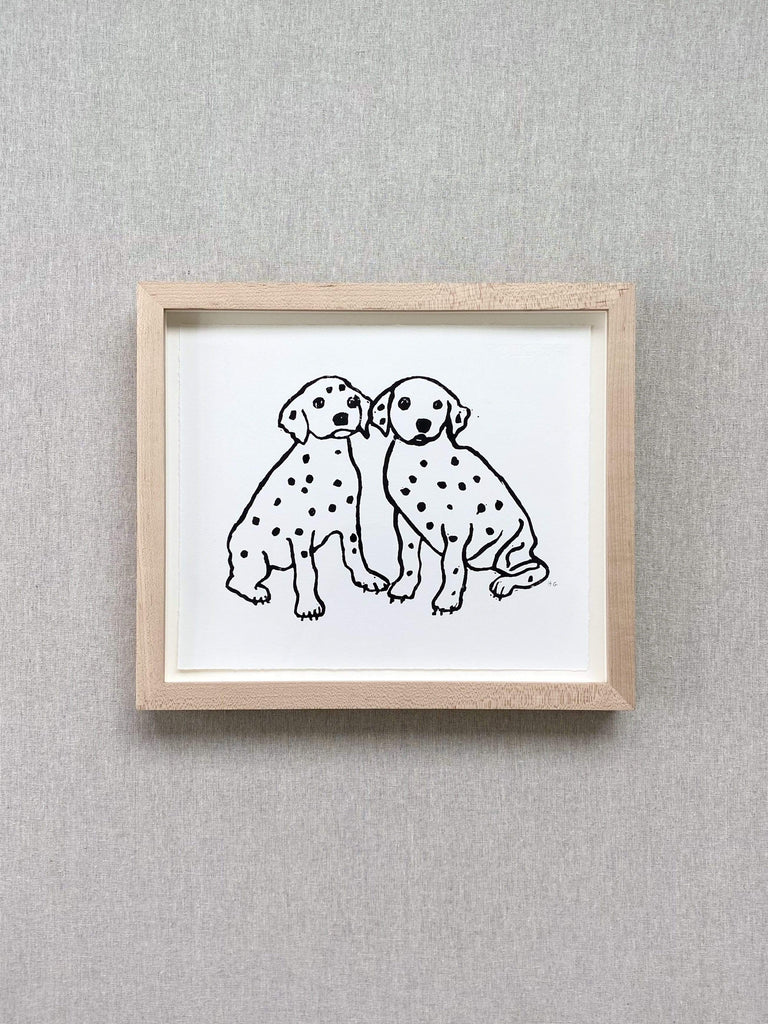 john derian medium framed hugo guinness print dalmation puppies