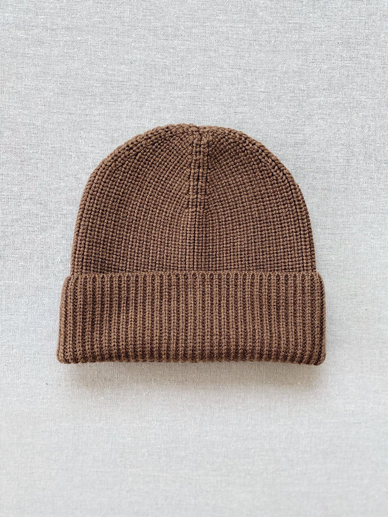 mabo adult merino wool ribbed beanie in mushroom