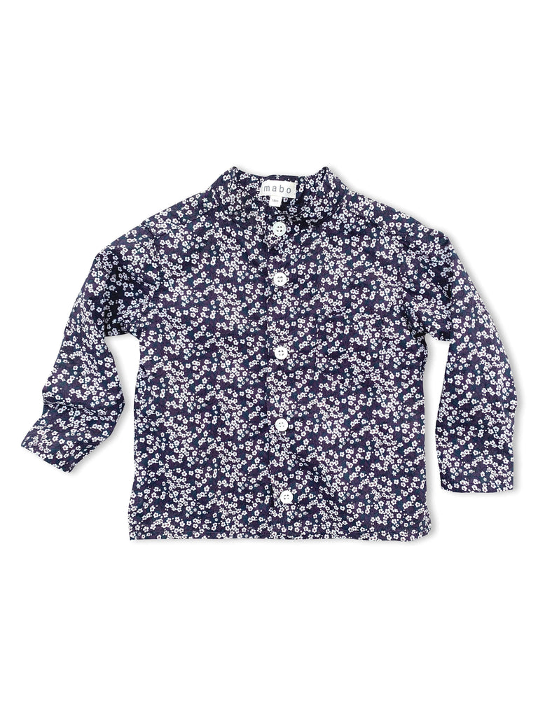 mabo band collar buttondown in Liberty of London floral