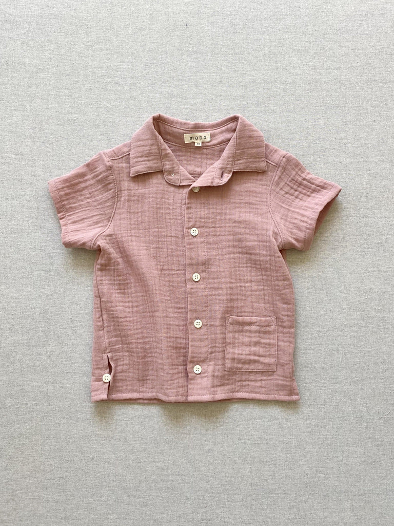 mabo buttondown shirt in rose gauze