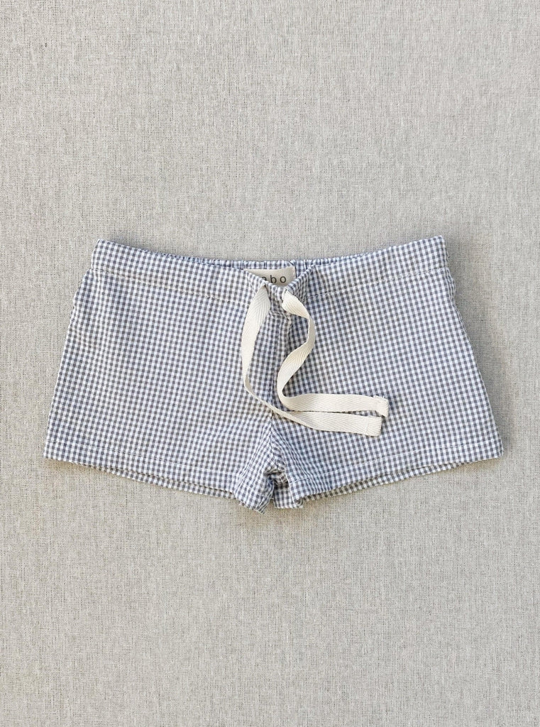 charlie shorts in grey micro-gingham seersucker