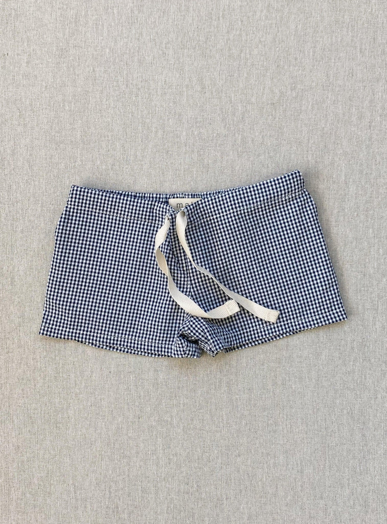 charlie shorts in indigo micro-gingham seersucker