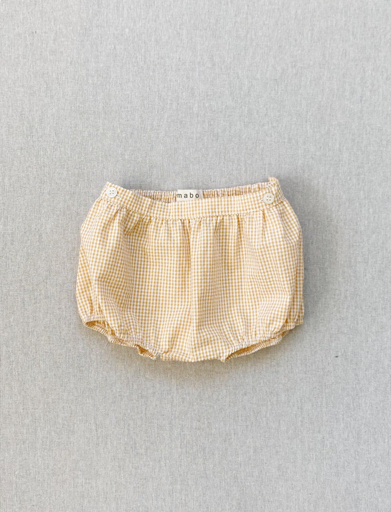 clover bloomers in golden micro-gingham seersucker