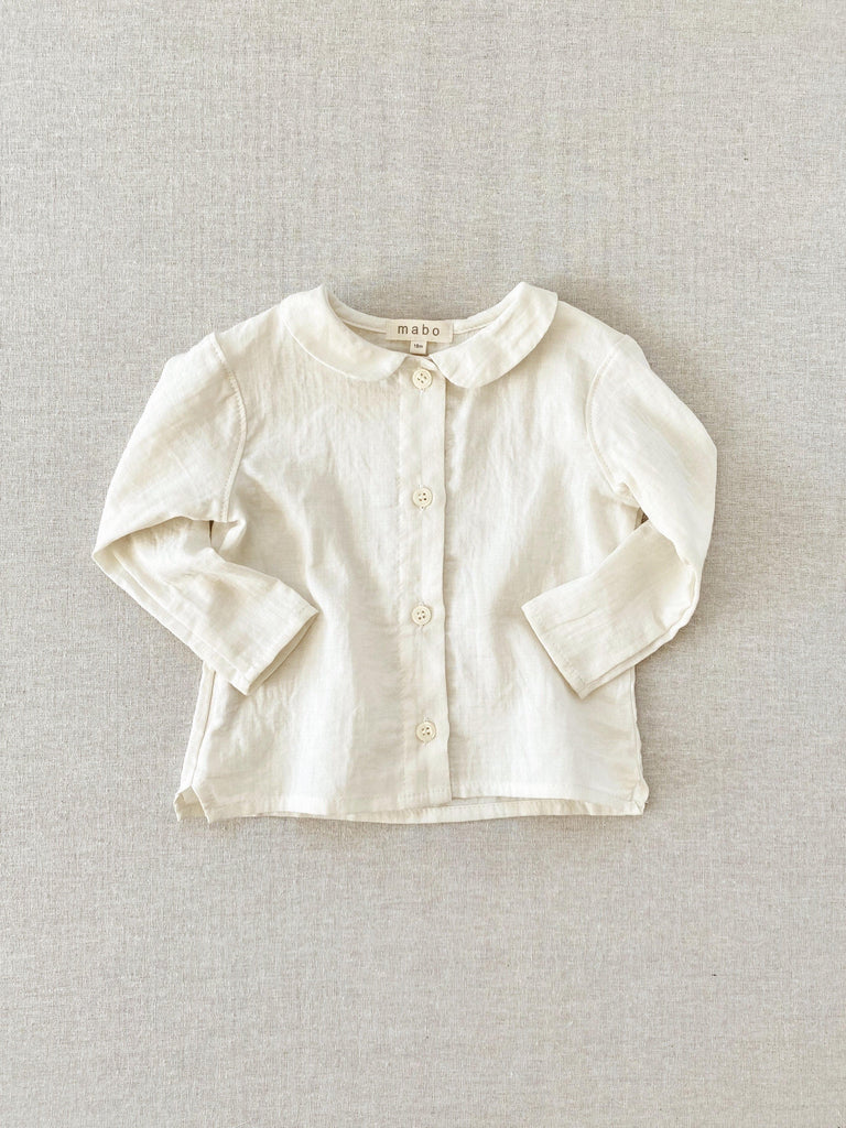mabo cora blouse in cream double gauze
