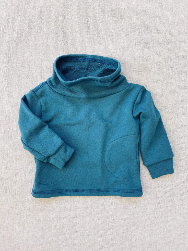 mabo cowl neck organic french terry sweatshirt in azure