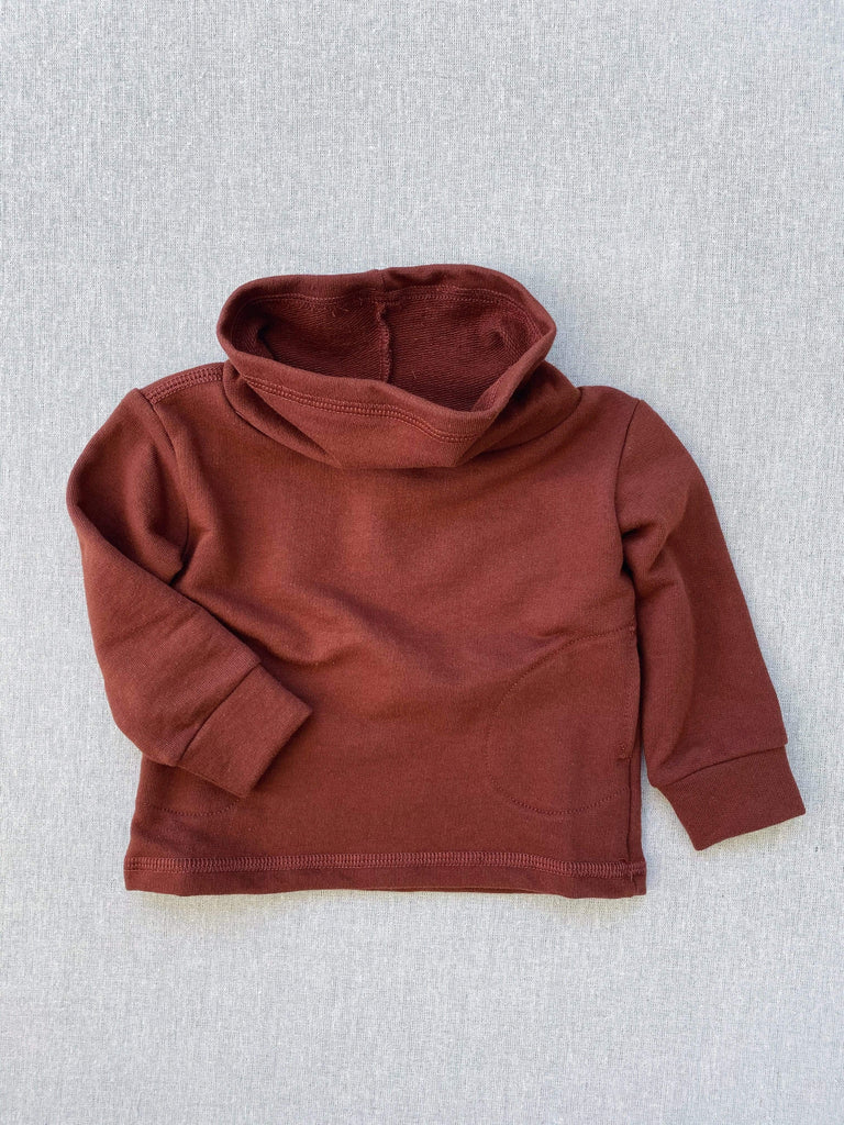 mabo cowl neck organic french terry sweatshirt in chestnut