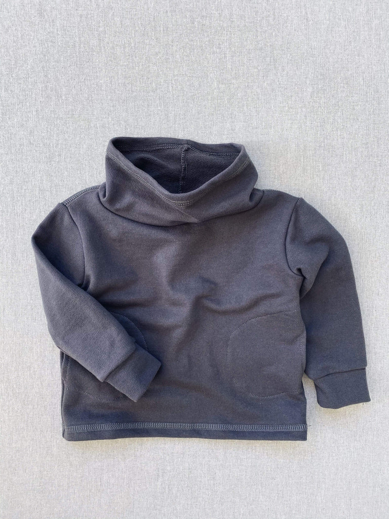 mabo cowl neck organic french terry sweatshirt in graphite