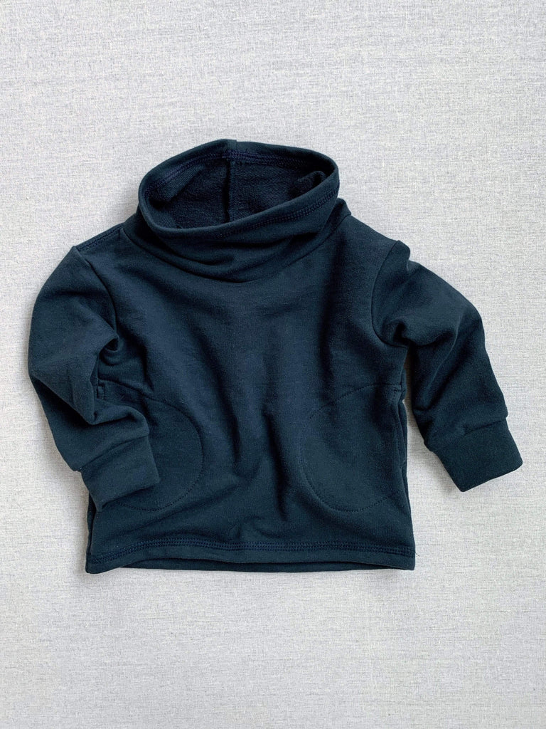 mabo cowl neck organic french terry sweatshirt in ink