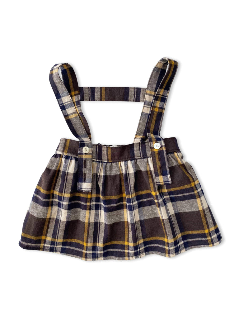 mabo esme suspender skirt in mustard plaid