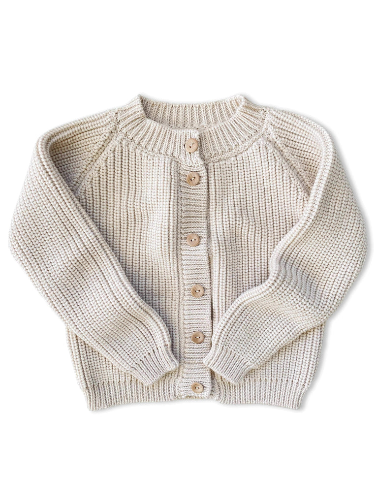 mabo fisherman rib cardigan in eggshell