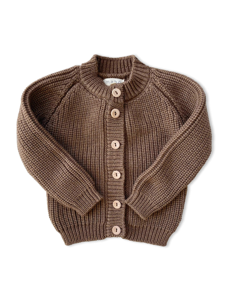 mabo fisherman rib cardigan in mushroom