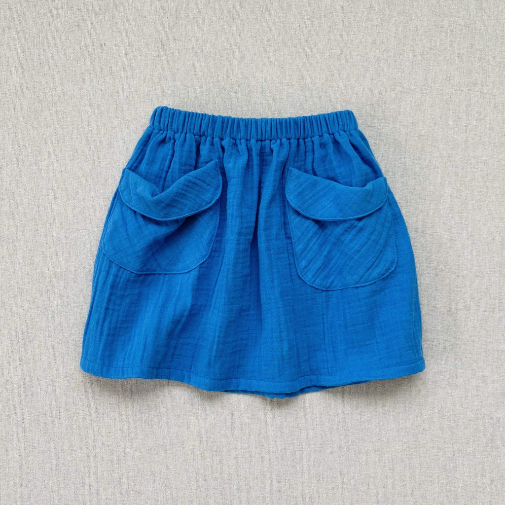 mabo frances midi beach skirt in cobalt gauze