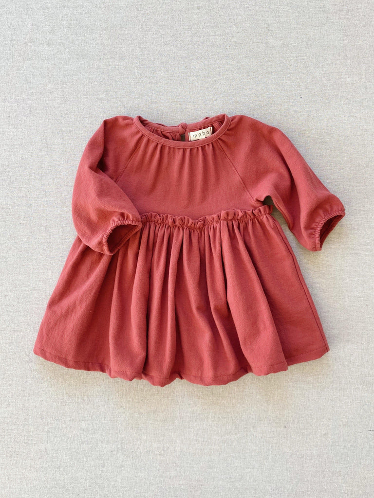 mabo georgie dress in mineral red flannel