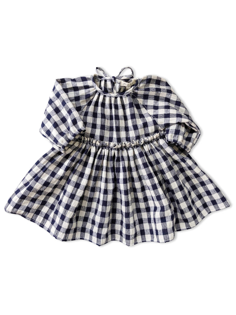 mabo georgie dress in soft woolie blue gingham