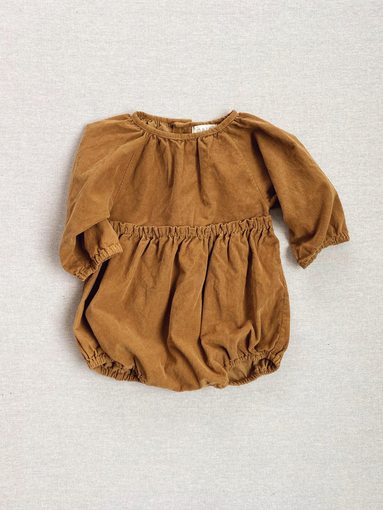 mabo georgie romper in gold corduroy