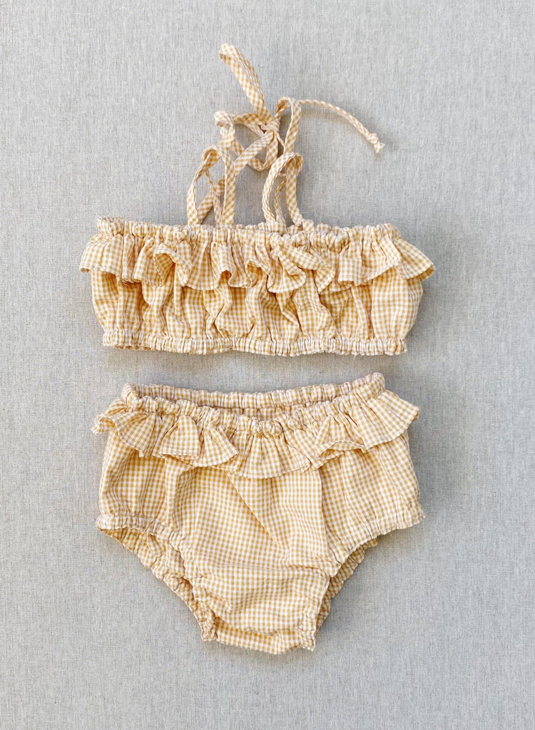 gigi swim/sunsuit in golden micro-gingham seersucker