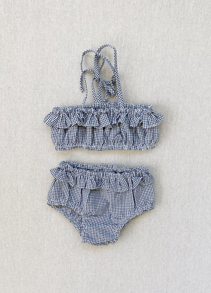gigi swim/sunsuit in indigo micro-gingham seersucker