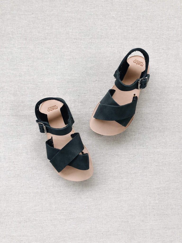 mabo kids' criss-cross leather sandals in chalkboard