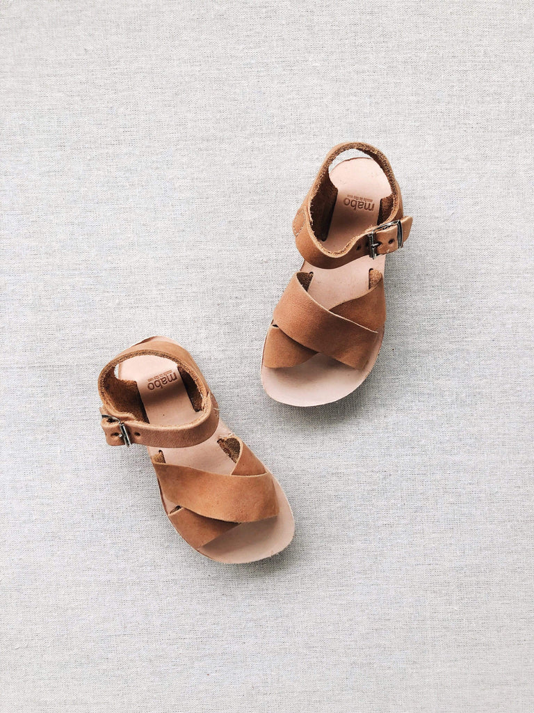 mabo kids' criss-cross leather sandals in clay