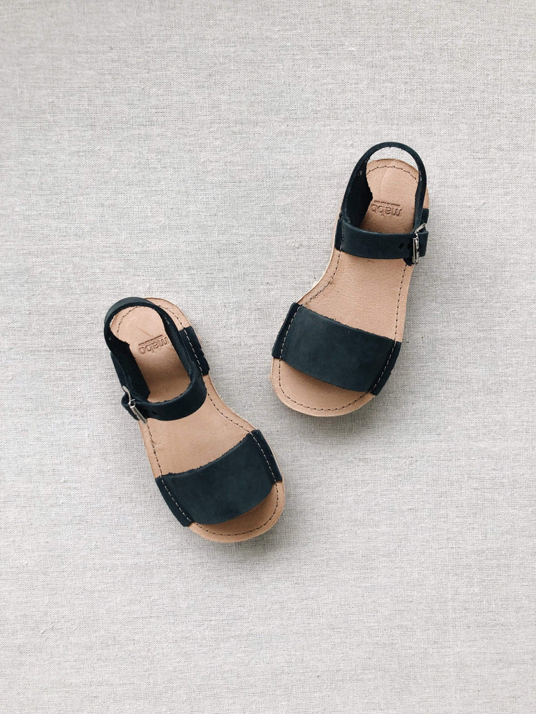 mabo kids' straight summer sandals in chalkboard leather