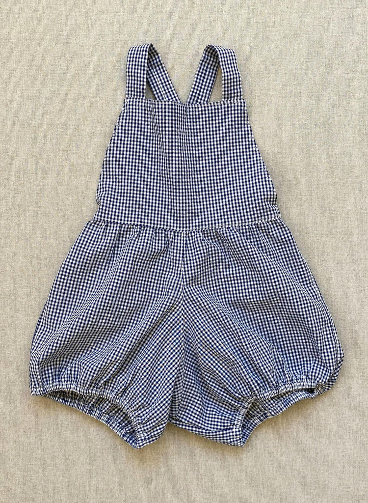 mabo mabel playsuit in indigo micro-gingham seersucker