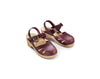 mabo maryjane clogs in burgundy leather nubuck
