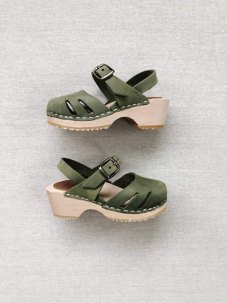mabo maryjane clogs in sage leather nubuck