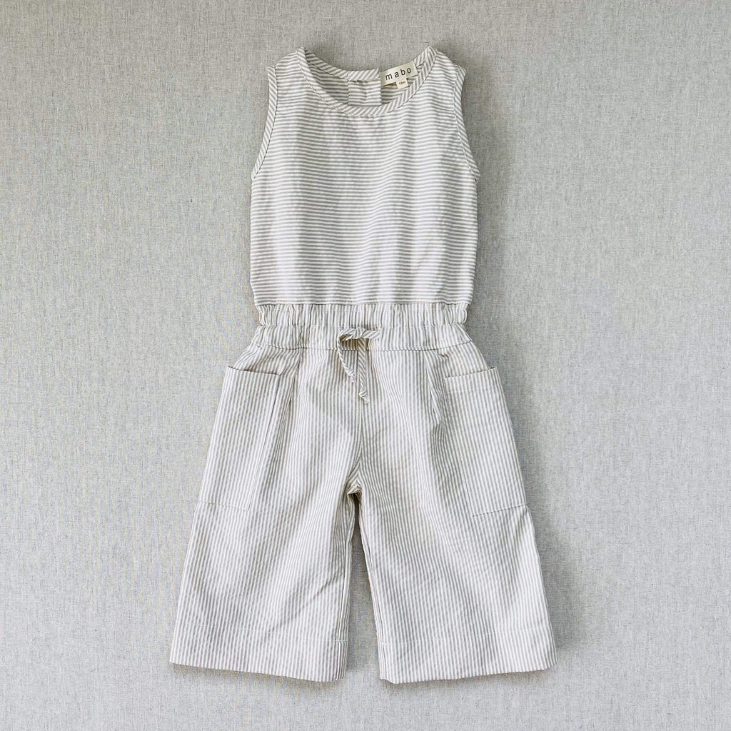 mabo maude jumpsuit in grey seersucker cord