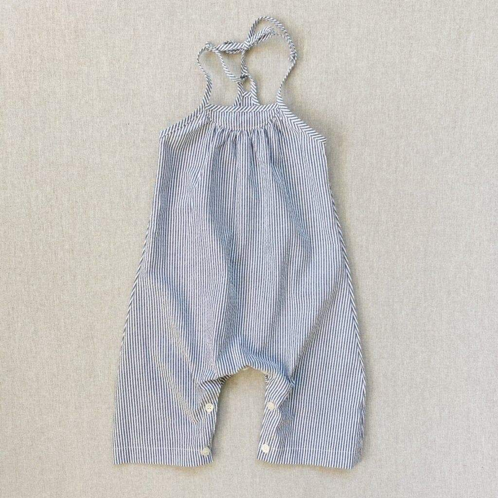 mabo mila romper in grey stripe seersucker