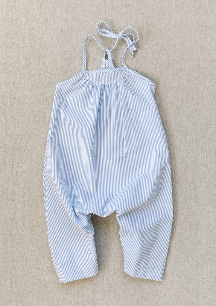 mila romper in sky blue stripe seersucker