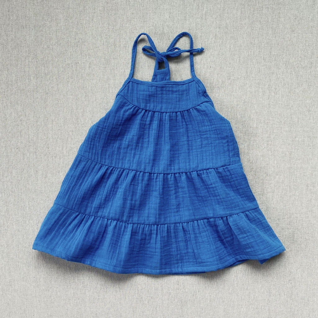 mabo mila sundress in cobalt gauze