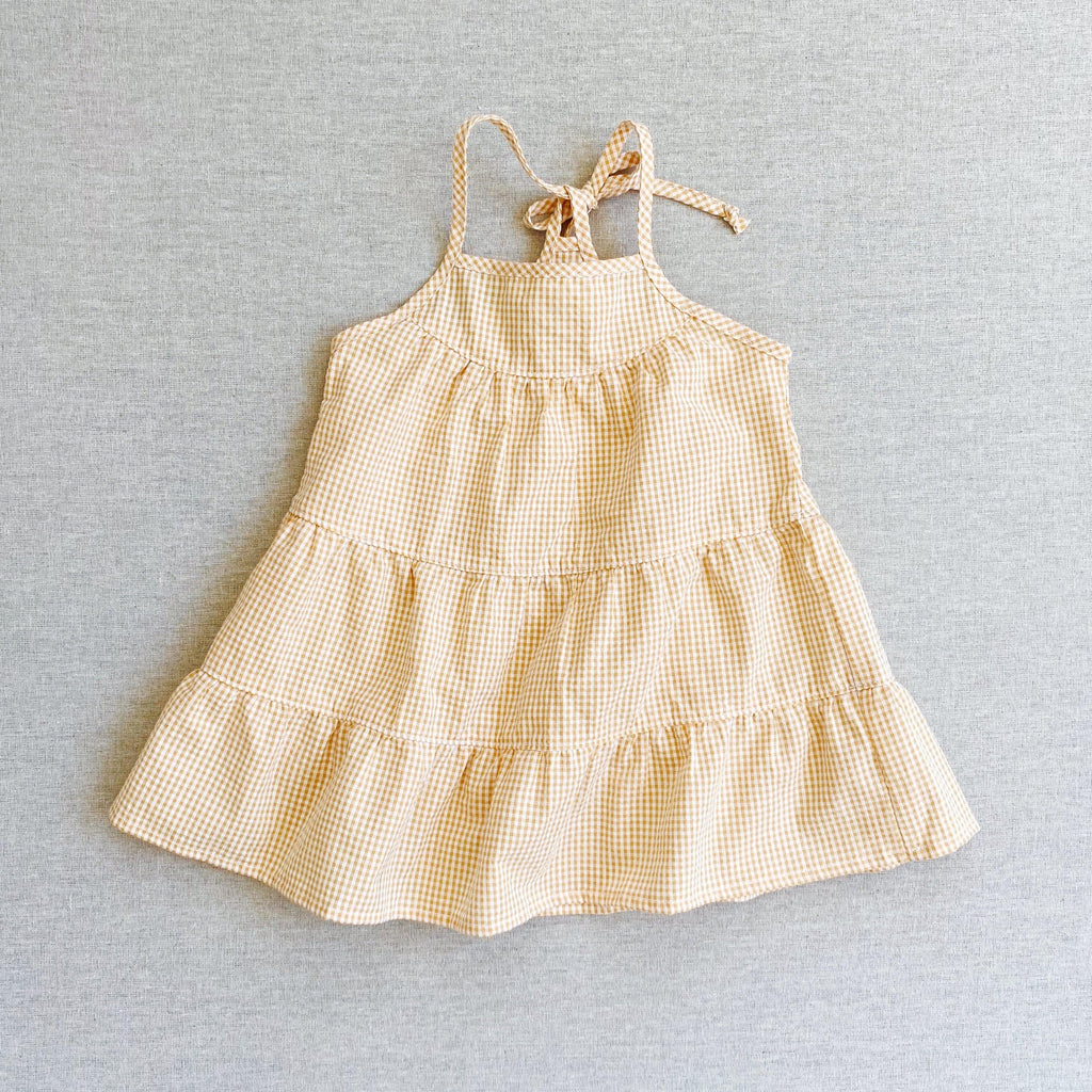 mabo mila sundress in golden micro-gingham seersucker