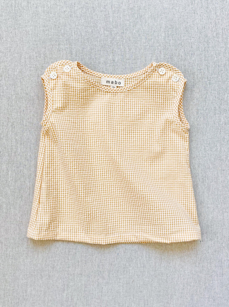 mabo mimi tank in golden micro-gingham seersucker