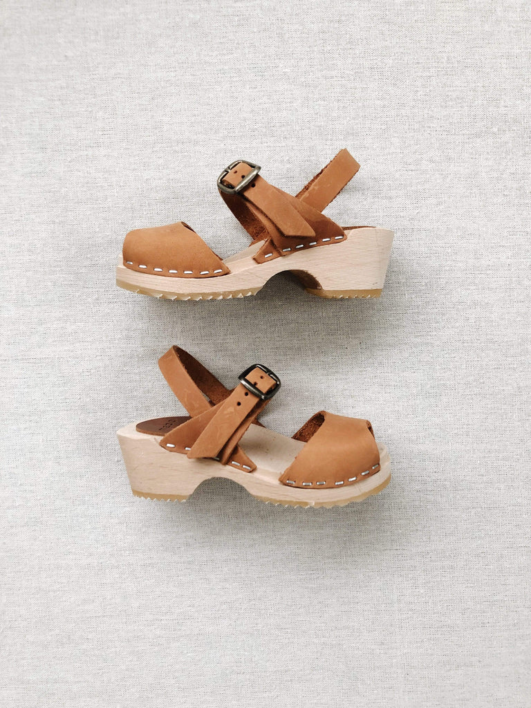 mabo open toe clogs in russet leather nubuck