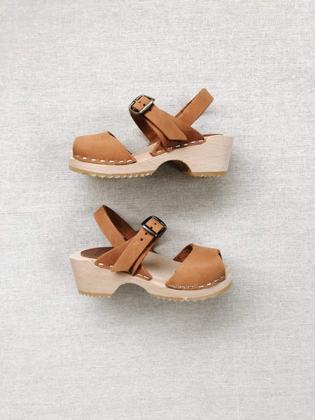 open toe clogs in russet leather nubuck – mabo