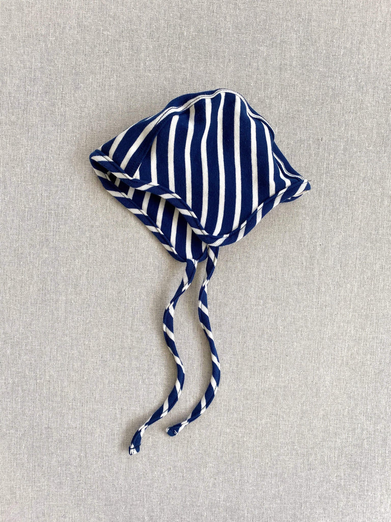 mabo organic cotton bonnet - blue/natural stripe